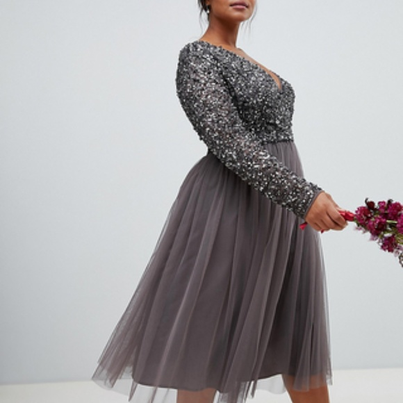 Asos Maya Plus size sequin dress midi length